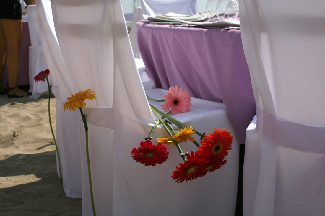 Flores de la boda en mesa